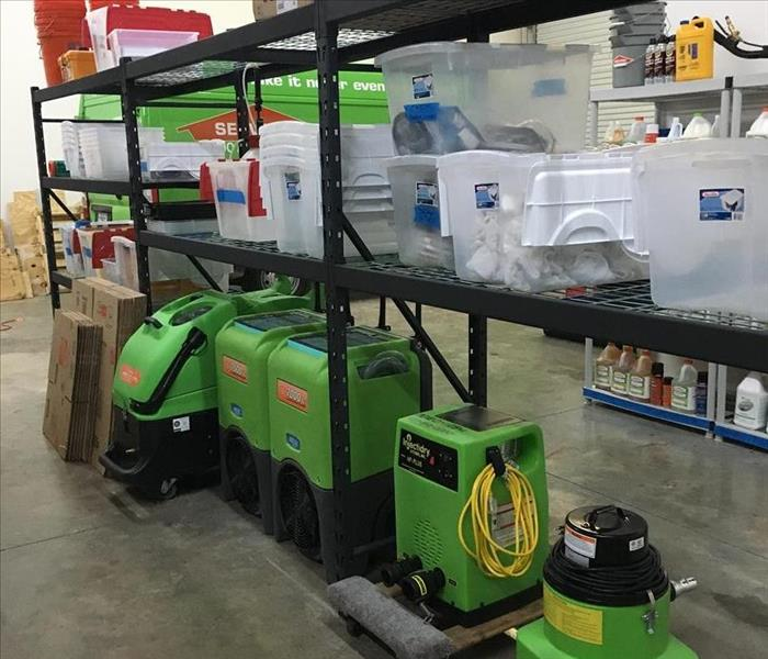 SERVPRO equipment in warehouse