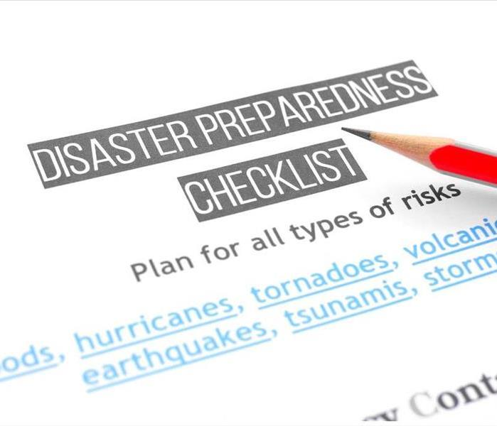 Disaster Preparedness checklist document with pencil on it